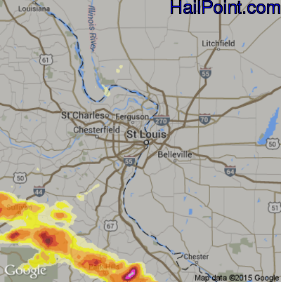 Hail Map for St. Louis, MO Region on April 8, 2015
