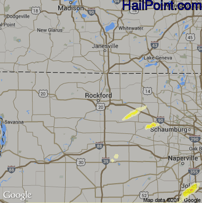 Hail Map for Rockford, IL Region on April 9, 2015