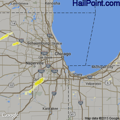 Hail Map for Chicago, IL Region on April 9, 2015