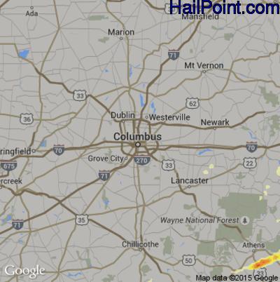 Hail Map for Columbus, OH Region on April 9, 2015