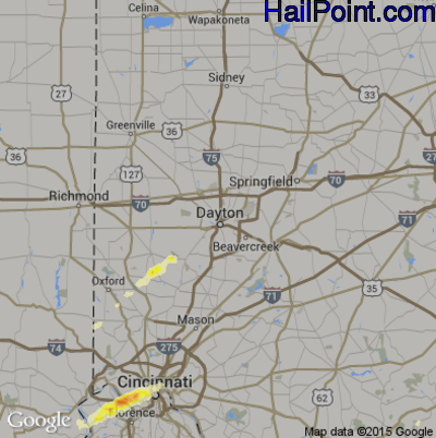Hail Map for Dayton, OH Region on April 9, 2015