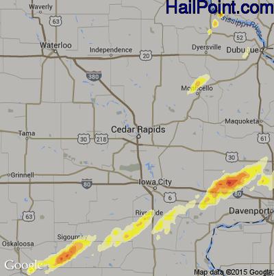 Hail Map for Cedar Rapids, IA Region on April 9, 2015