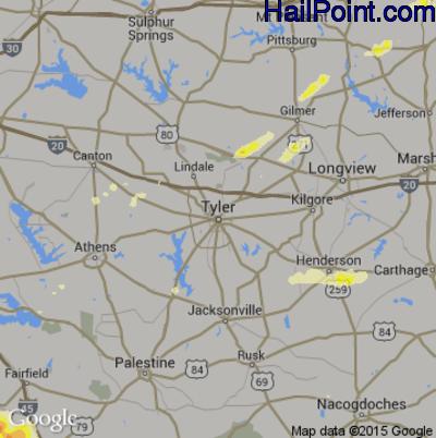 Hail Map for Tyler, TX Region on April 9, 2015