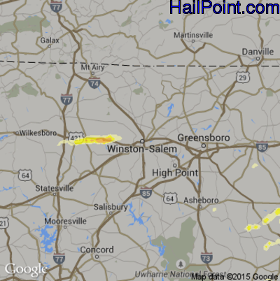 Hail Map for Winston-Salem, NC Region on April 9, 2015