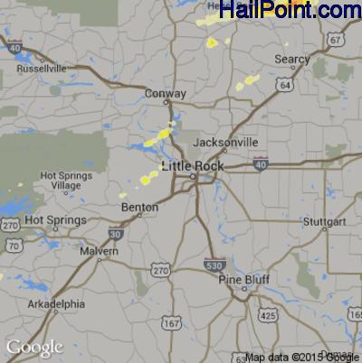 Hail Map for Little Rock, AR Region on April 9, 2015