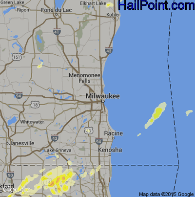 Hail Map for Milwaukee, WI Region on April 9, 2015