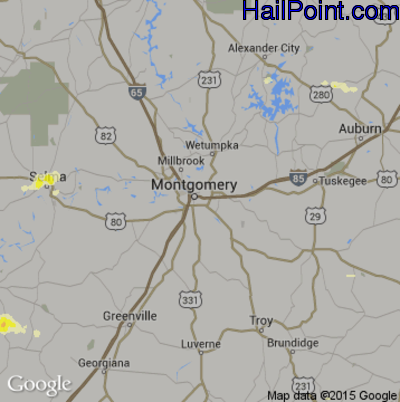 Hail Map for Montgomery, AL Region on April 10, 2015
