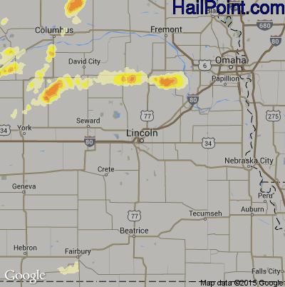 Hail Map for Lincoln, NE Region on April 12, 2015