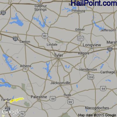 Hail Map for Tyler, TX Region on April 13, 2015
