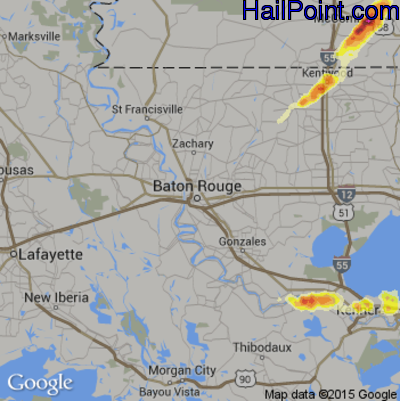 Hail Map for Baton Rouge, LA Region on April 15, 2015