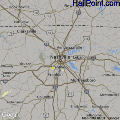 Hail Map for Nashville, TN Region on April 15, 2015