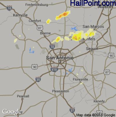 Hail Map for San Antonio, TX Region on April 16, 2015