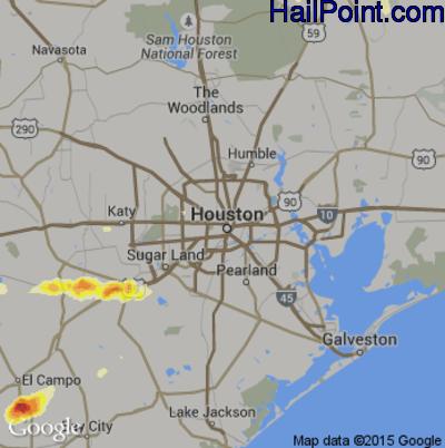 Hail Map for Houston, TX Region on April 16, 2015