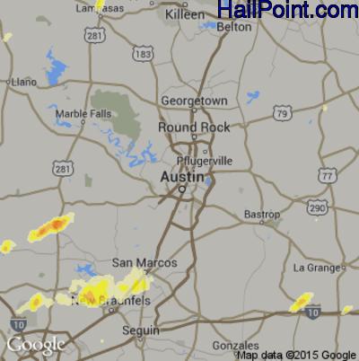 Hail Map for Austin, TX Region on April 16, 2015