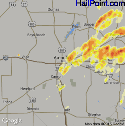 Hail Map for Amarillo, TX Region on April 16, 2015