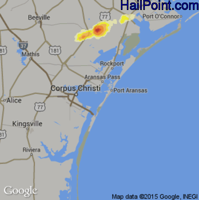 Hail Map for Corpus Christi, TX Region on April 16, 2015