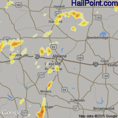 Hail Map for Abilene, TX Region on April 16, 2015