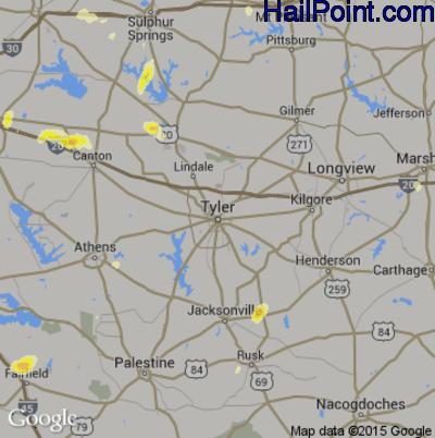 Hail Map for Tyler, TX Region on April 16, 2015