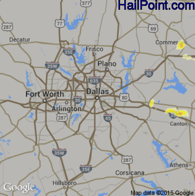 Hail Map for Dallas, TX Region on April 16, 2015