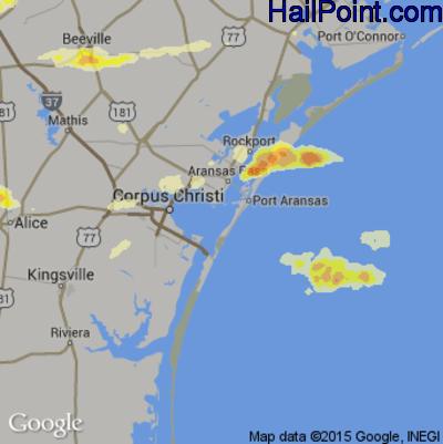 Hail Map for Corpus Christi, TX Region on April 17, 2015