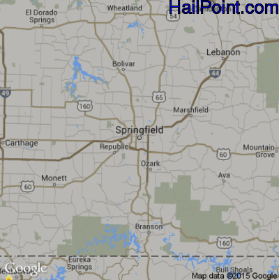Hail Map for Springfield, MO Region on April 18, 2015