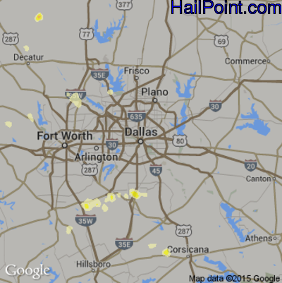 Hail Map for Dallas, TX Region on April 18, 2015