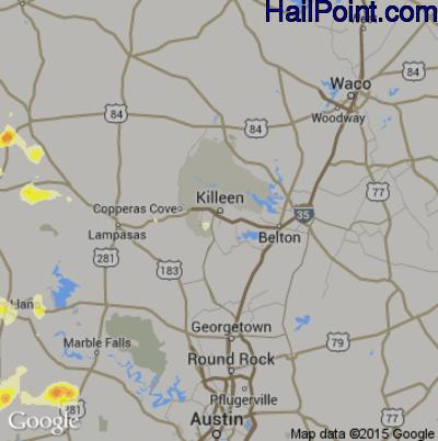 Hail Map for Killeen, TX Region on April 18, 2015