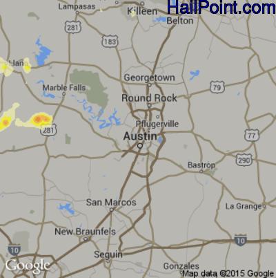 Hail Map for Austin, TX Region on April 18, 2015