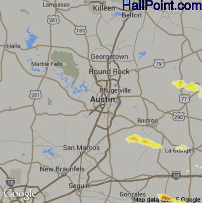 Hail Map for Austin, TX Region on April 19, 2015
