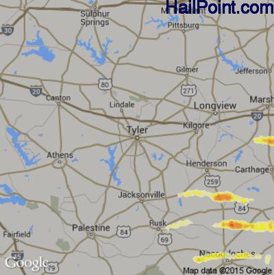 Hail Map for Tyler, TX Region on April 19, 2015
