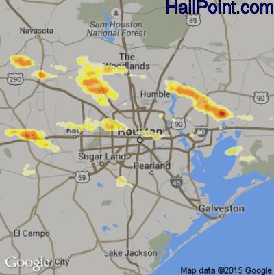 Hail Map for Houston, TX Region on April 19, 2015
