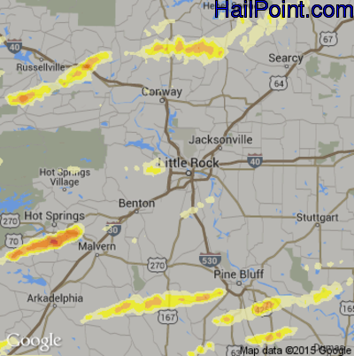Hail Map for Little Rock, AR Region on April 19, 2015