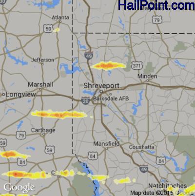 Hail Map for Shreveport, LA Region on April 19, 2015