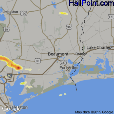 Hail Map for Beaumont, TX Region on April 19, 2015