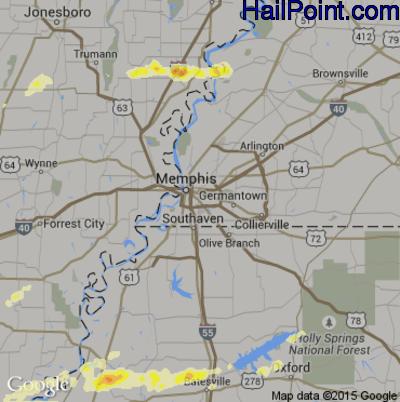 Hail Map for Memphis, TN Region on April 20, 2015