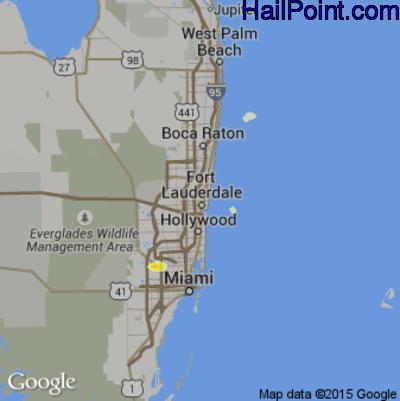 Hail Map for Fort Lauderdale, FL Region on April 20, 2015