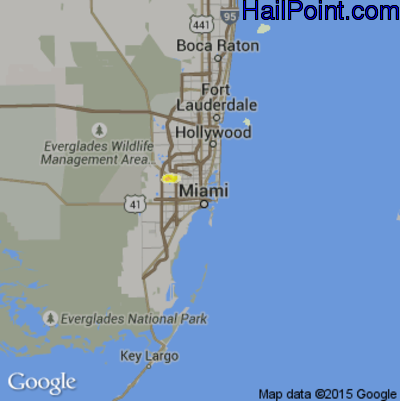 Hail Map for Miami, FL Region on April 20, 2015