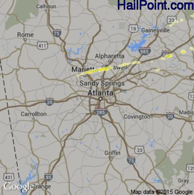 Hail Map for Atlanta, GA Region on April 20, 2015