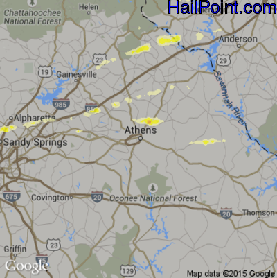 Hail Map for Athens, GA Region on April 20, 2015