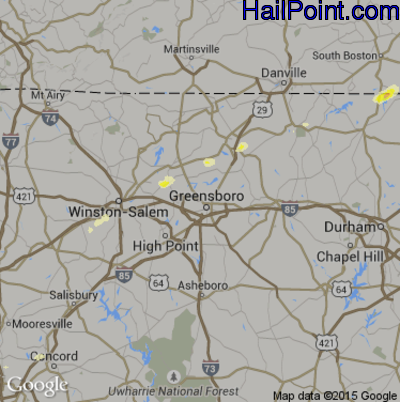 Hail Map for Greensboro, NC Region on April 20, 2015