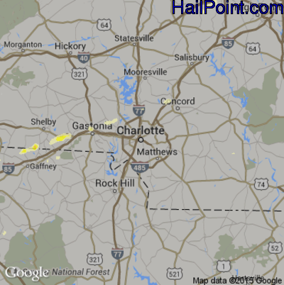 Hail Map for Charlotte, NC Region on April 20, 2015