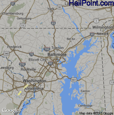 Hail Map for Baltimore, MD Region on April 20, 2015