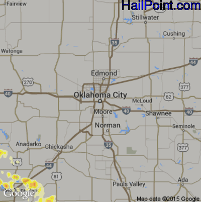 Hail Map for Oklahoma City, OK Region on April 22, 2015