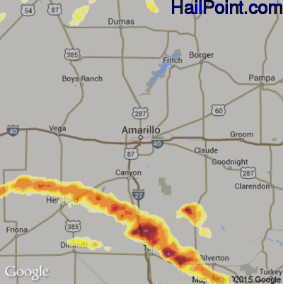 Hail Map for Amarillo, TX Region on April 22, 2015