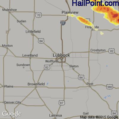 Hail Map for Lubbock, TX Region on April 23, 2015