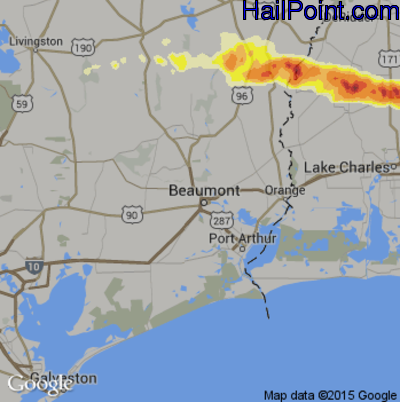 Hail Map for Beaumont, TX Region on April 24, 2015