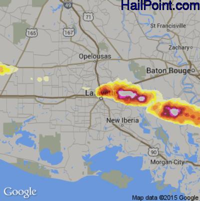 Hail Map for Lafayette, LA Region on April 24, 2015
