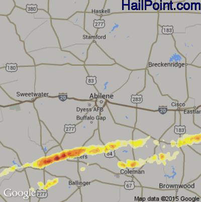 Hail Map for Abilene, TX Region on April 24, 2015