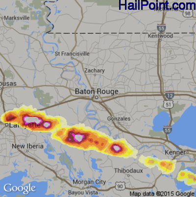 Hail Map for Baton Rouge, LA Region on April 24, 2015