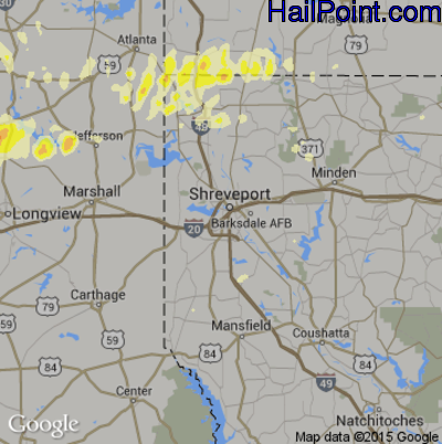 Hail Map for Shreveport, LA Region on April 24, 2015
